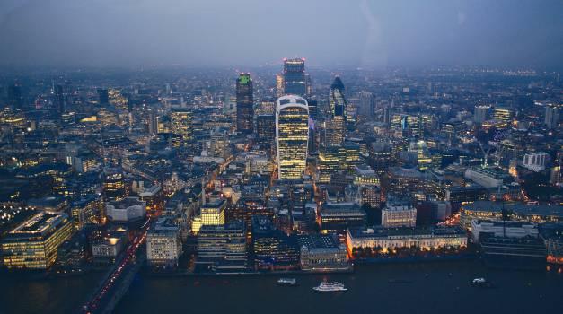 skyline buildings aerial  Free Photo