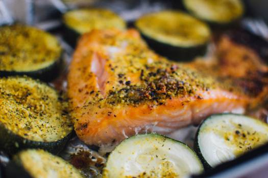 salmon zucchini spices  Free Photo