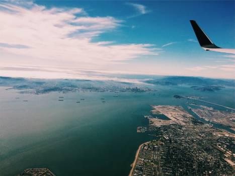 airplane aerial view  Free Photo