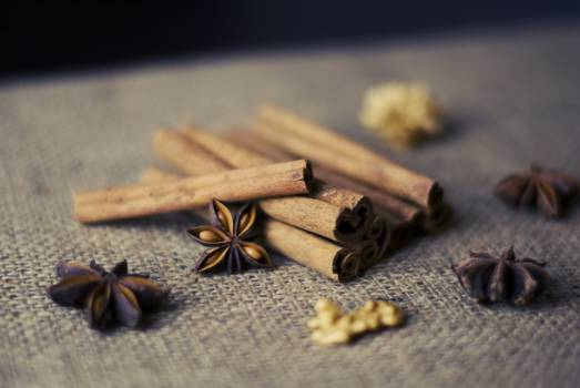 cinnamon sticks anise nuts  Free Photo