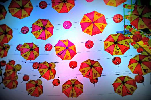 umbrellas lanterns sky  Free Photo