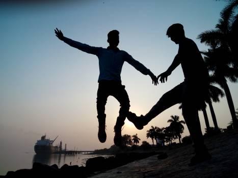 Silhouette Jump Man Free Photo