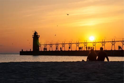 sunset sky pier  Free Photo