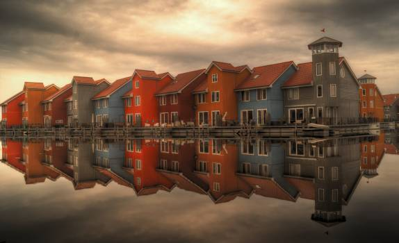 netherlands colorful houses  Free Photo