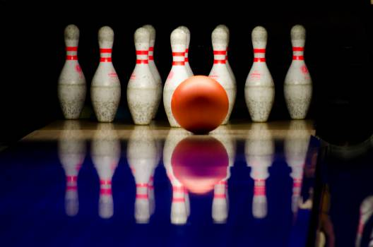 bowling alley ball pins  Free Photo