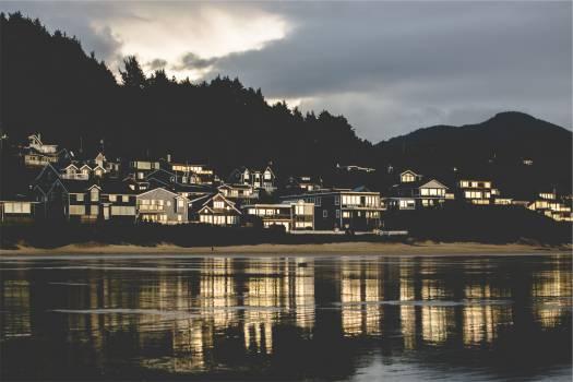 Beach houses shore  Free Photo
