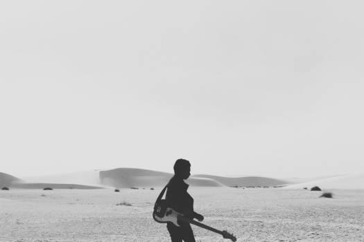 black and white sky desert  Free Photo