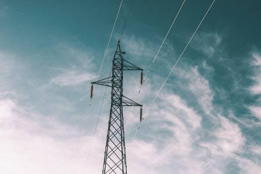 power lines blue sky  #19203