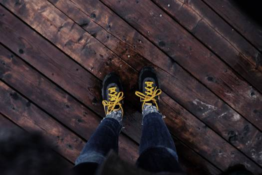 shoes yellow laces  Free Photo