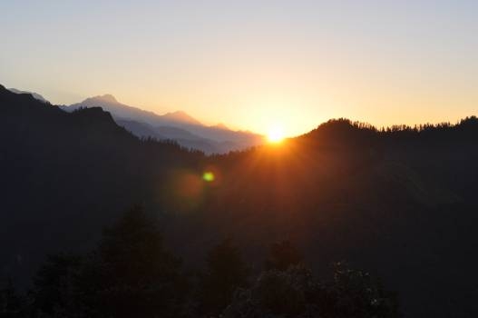 sunrise dawn mountains  Free Photo