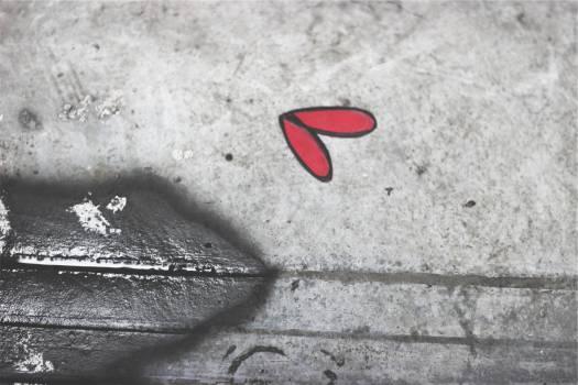 concrete red heart  Free Photo