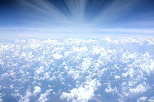 above the clouds sky blue  Free Photo