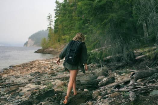 girl hiking trekking  Free Photo