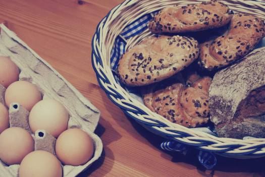 eggs bread pastries  Free Photo