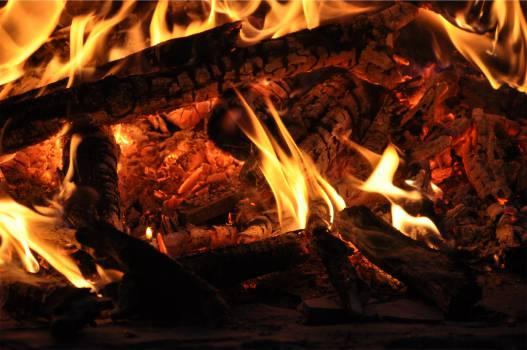 bonfire flames wood  #20874
