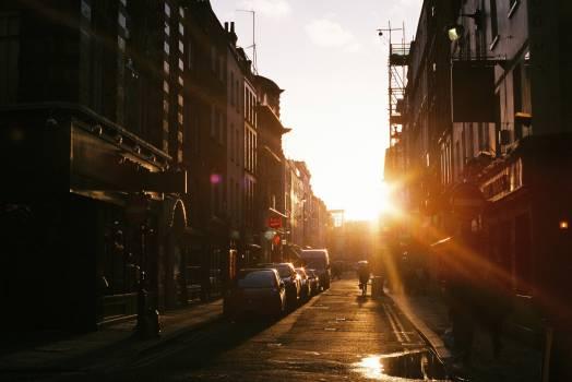 sunset city buildings  Free Photo
