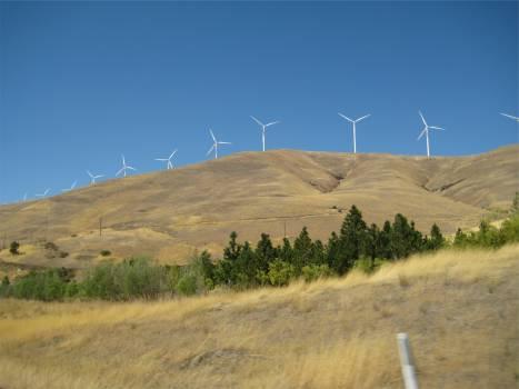 windmills hills fields  Free Photo