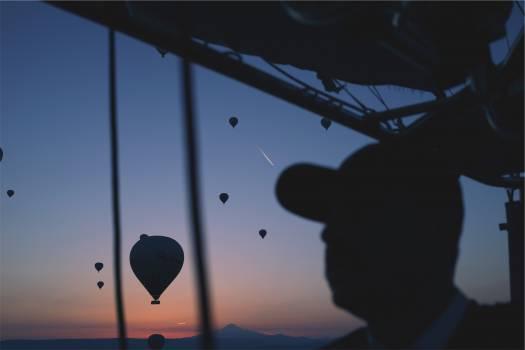 hot air balloons sunset dusk  Free Photo