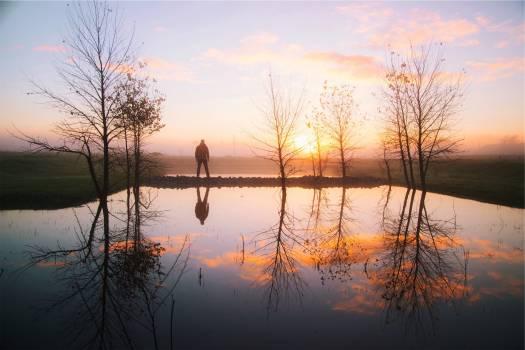 sunset water reflection  Free Photo