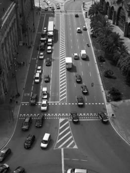 black and white barcelona traffic  Free Photo