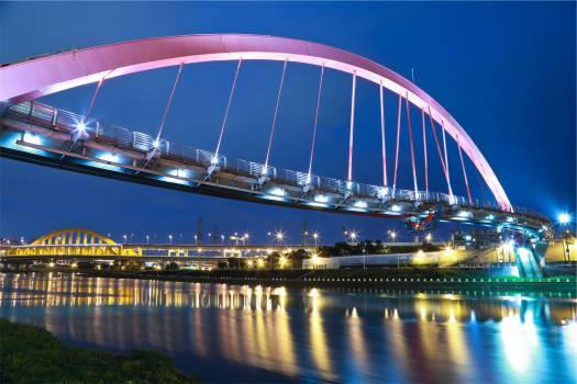 bridge architecture night  Free Photo