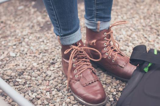 brown leather boots  Free Photo