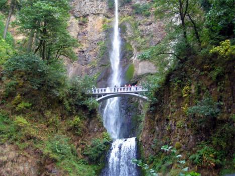 waterfall bridge cliffs  #21783