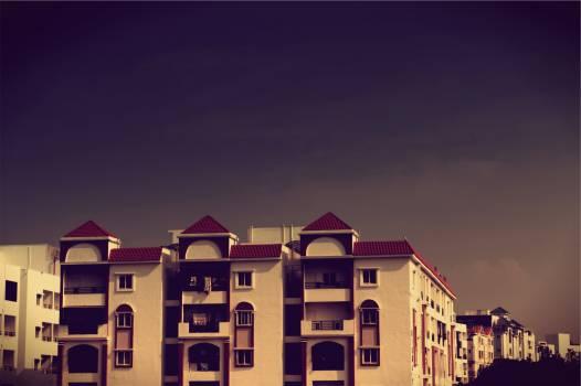 dark sky buildings  Free Photo