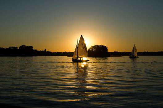 sunset dawn sailboats  Free Photo