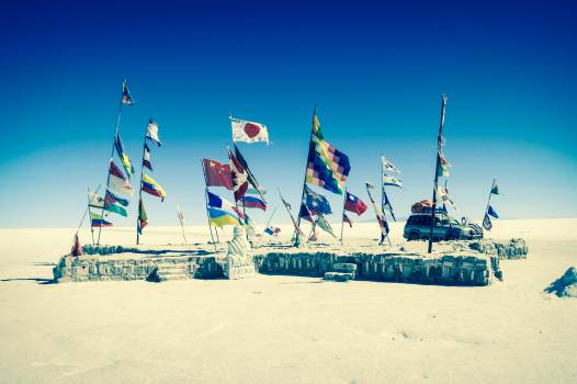 Uyuni Salt Flats Bolivia flags  #21952
