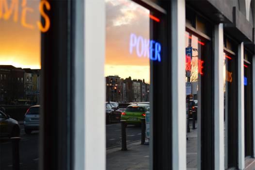 window reflection poker  Free Photo
