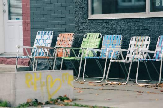 lawn chairs graffiti paint  Free Photo