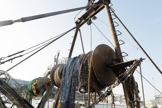 fishing net boats harbor  Free Photo