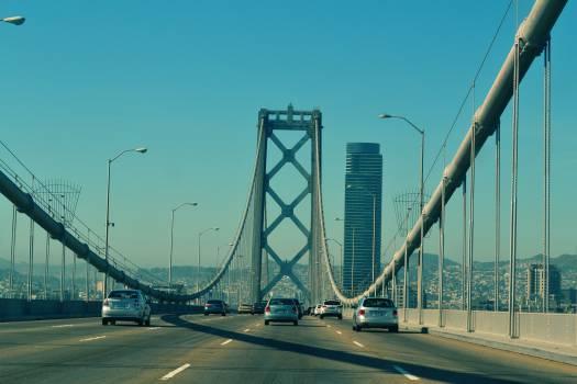 bridge road cars  Free Photo