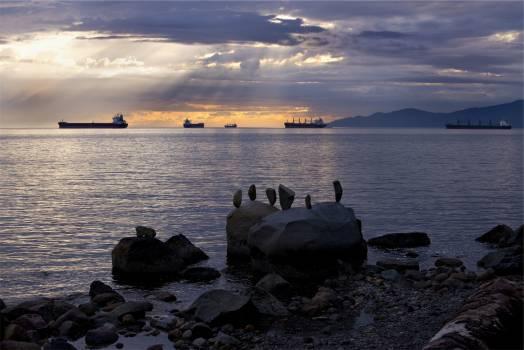 boats ships sunset  Free Photo