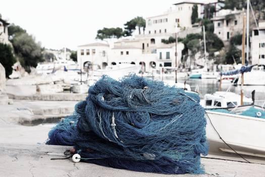 fishing net rope harbor  Free Photo