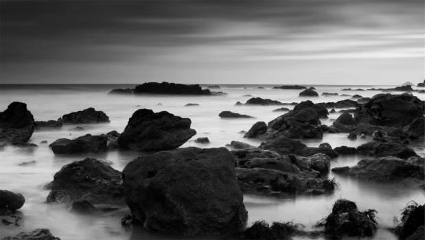 rocks boulders mist  #22419