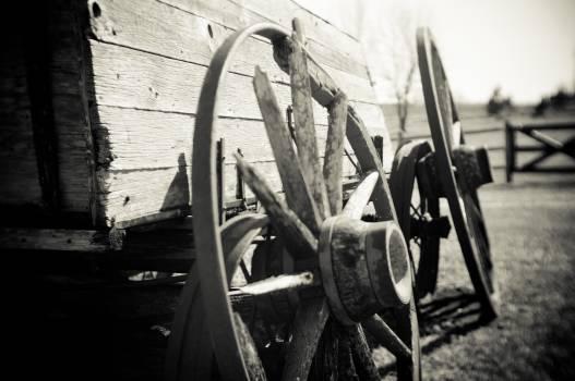 black and white wagon wheels  Free Photo