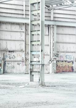 industrial warehouse graffiti  Free Photo