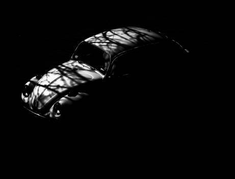 beetle car black and white  Free Photo
