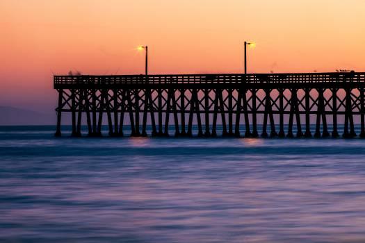 sunset dusk pier  Free Photo