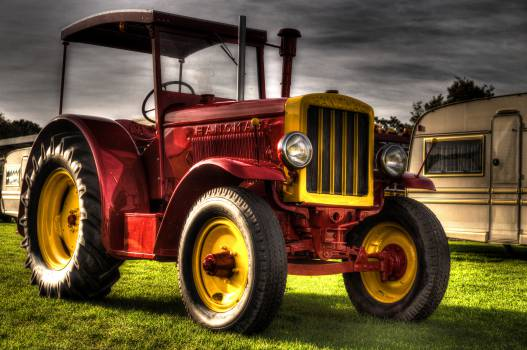 red tractor trailer  Free Photo