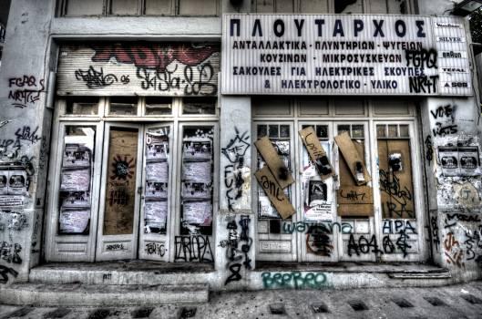graffiti closed store  Free Photo