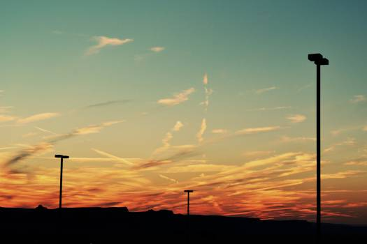 sunset sky lamp posts  Free Photo