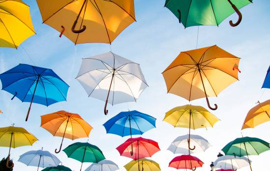 umbrellas sky sunshine Free Photo