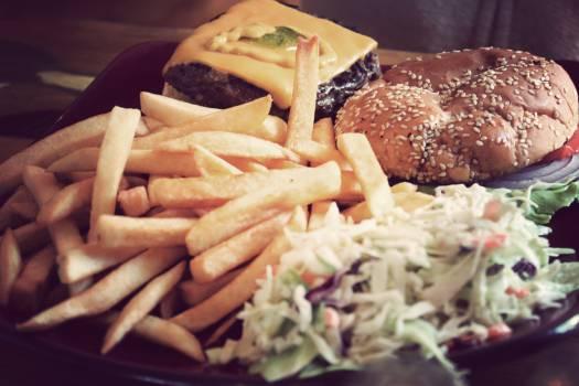 hamburger french fries coleslaw Free Photo
