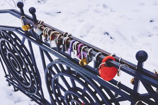 padlocks locked railing Free Photo