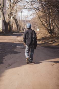Man Walking Outdoors Free Photo