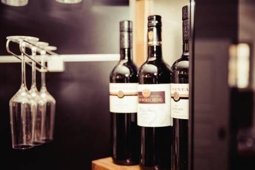 wine bottles glasses Free Photo