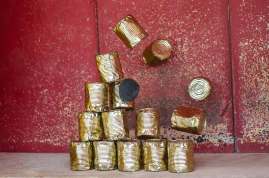 tin cans objects falling Free Photo
